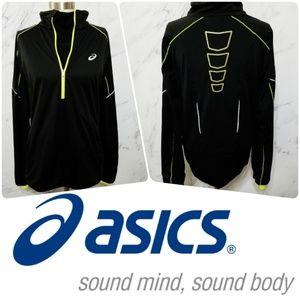 Asics | Black and Neon Yellow Half Zip Pullover